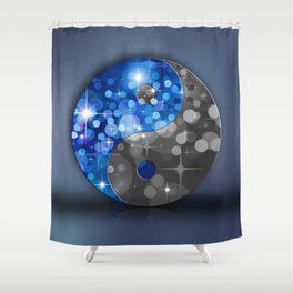YIN & YANG Stars in blue black Shower Curtain