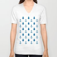anchors V-neck T-shirts featuring Raining Anchors by The Venerate Empire