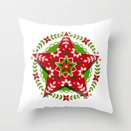 Modern Folkloric Star Throw Pillow