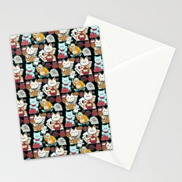 Super Lucky Pattern in Black Stationery Cards