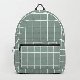 Morning blue - grey color - White Lines Grid Pattern Backpack