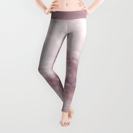 Pastel pink burgundy elegant abstract marble pattern Leggings