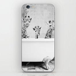 Four Giraffes in a Bath (bw) iPhone Skin
