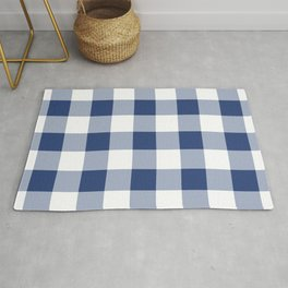 Navy Gingham Pattern Rug