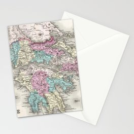 Vintage Map of Greece (1855) Stationery Cards