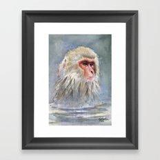 Snow Monkey Watercolor Animal Framed Art Print