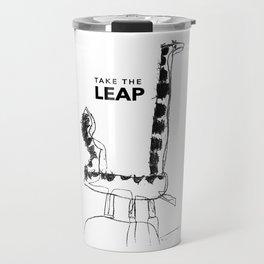 Leaping Dinosaur - text Travel Mug