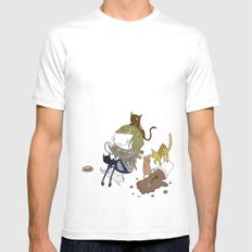 Cat Lady Mens Fitted Tee White MEDIUM