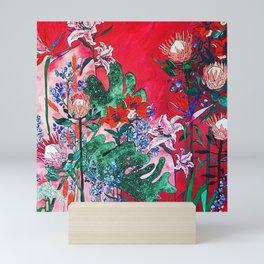 Ruby Red Floral Jungle Mini Art Print