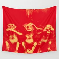evil Wall Tapestries featuring No Evil by C Liza B