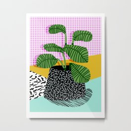 Decent - memphis retro neon throwback illustration pop art houseplant socal urban kids trendy art Metal Print