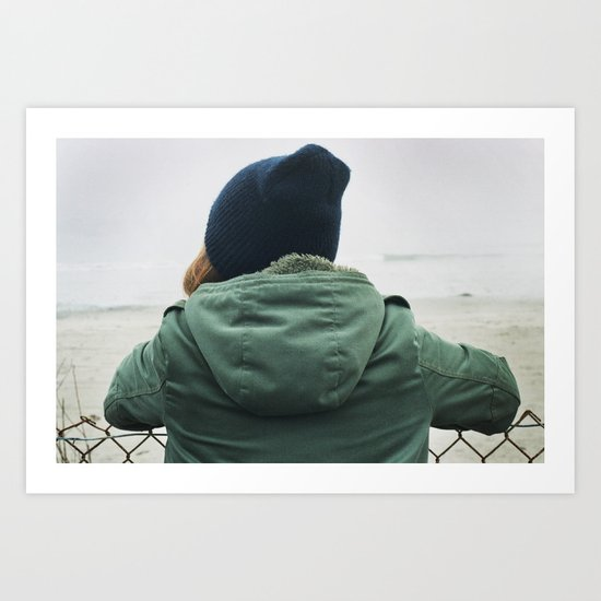 girl on beach. Art Print
