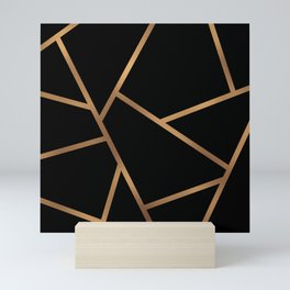 Black and Gold Fragments - Geometric Design Mini Art Print