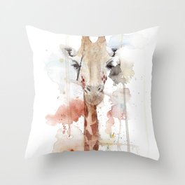 "Watercolor Painting of Picture ""Portrait of a Giraffe"" Throw Pillow"