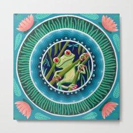 Green Tree Frog Mandala Metal Print