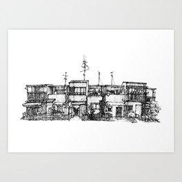 Urban space - Row of shops #3 Art Print