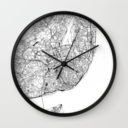 Lisbon White Map Wall Clock