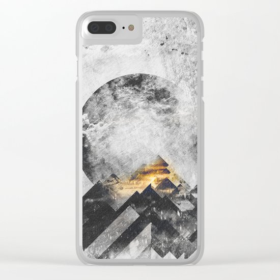 One mountain at a time - Black and white Clear iPhone Case