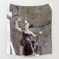 postcard Wall Tapestries featuring Rome postcard by Miz2017
