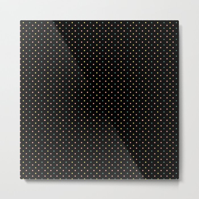 Small dots on black Metal Print