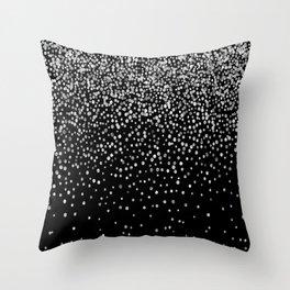 Black & Glam Silver Confetti Throw Pillow