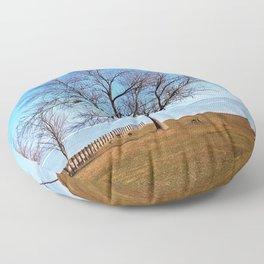 The Tree by the Frozen Lake Floor Pillow