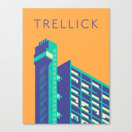 Trellick Tower London Brutalist Architecture - Text Apricot Canvas Print