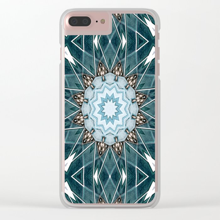 Structural Turquoise Mandala Clear iPhone Case