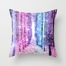 Magical Forest : Pastel Pink Lavender Aqua Periwinkle Ombre Throw Pillow