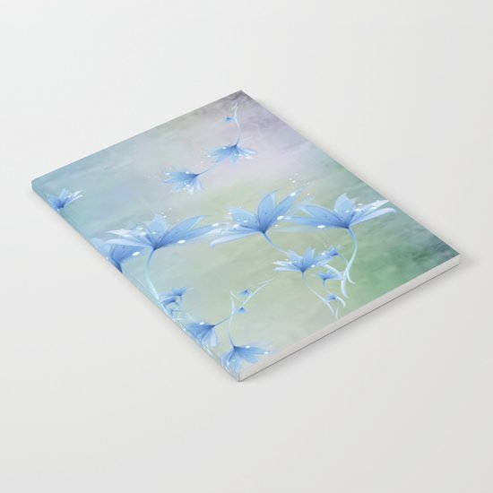 Fantasy Floating Blue Flowers Abstract Notebook