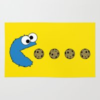cookie monster Area & Throw Rugs featuring Cookie monster Pacman by dutyfreak