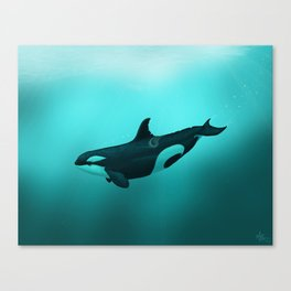 """Lost in Paradise"" by Amber Marine ~ Killer Whale ~ Orca ~ Original Version ~ (Copyright 2015) Canvas Print"