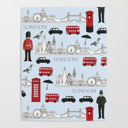 London Skyline and Icons Poster