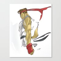 street fighter Canvas Prints featuring The Street Fighter by JoPruDuction Art