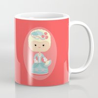 marie antoinette Mugs featuring Marie Antoinette by Sombras Blancas Art & Design