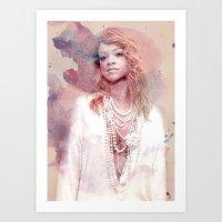 rihanna Art Prints featuring Rihanna by Kanelko