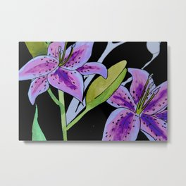 Purple tie dye flower Metal Print