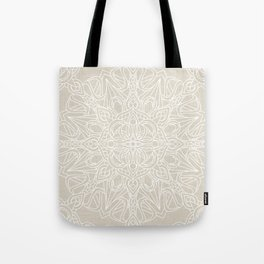 White Lace Mandala on Antique Ivory Linen Background Tote Bag