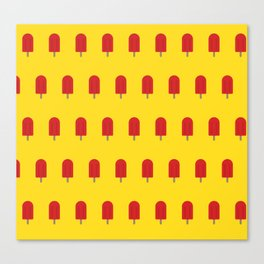 Red Popsicles - Yellow Background Canvas Print