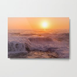 Sunset Rolling Waves Metal Print