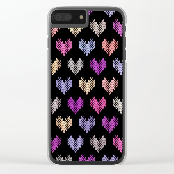 Colorful Knitted Hearts IV Clear iPhone Case