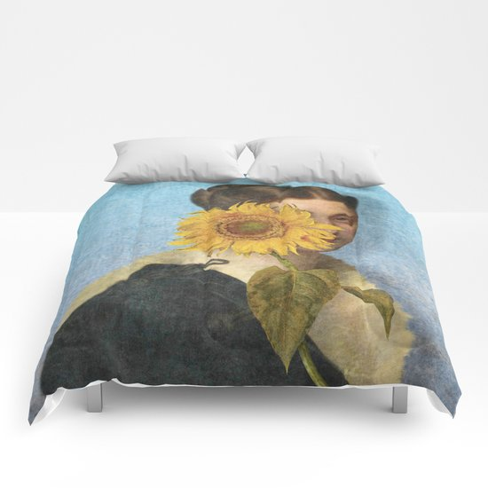 Girl with Sunflower 2 Comforters