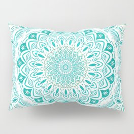 White Mandala on Blue Green Distressed Background with Detail and Textured Pillow Sham