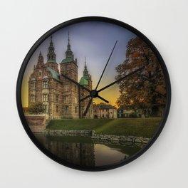 Copenhagen Denmark castle Rosenborg Castles Pond sunrise and sunset Trees Cities Sunrises and sunsets Wall Clock