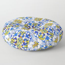 Blue Yellow Seamless Pattern Antique Portuguese Azulejo Tile Floor Pillow
