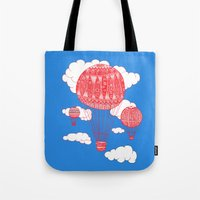 hot air balloon Tote Bags featuring Hot Air Balloon by lush tart