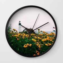 Portland Headlight and Flowers Wall Clock