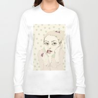 lipstick Long Sleeve T-shirts featuring lipstick by Cecilia Sánchez