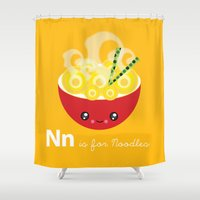 ramen Shower Curtains featuring N is for Noodles by mimibun