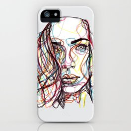 portrait style line - ritratto in stile linee colorate - lignes style portrait couleur iPhone Case